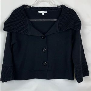 Cabi Black Cropped sweater with wide collar